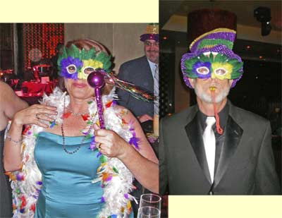 Patty & Craig at Mardi Gras wedding party