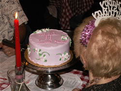 Addie Fowzer blowing out her 88th birthday candles