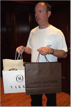 Robert holding the shopping