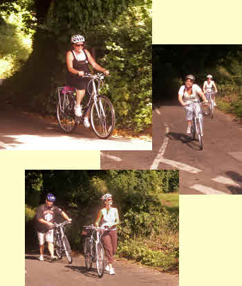 bicycling up a steep hill
