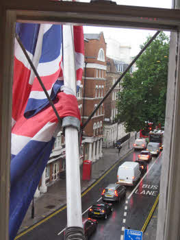 British flag from hotel room