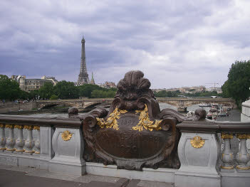 Eiffel Tower view from bridge Pont Alexandre III