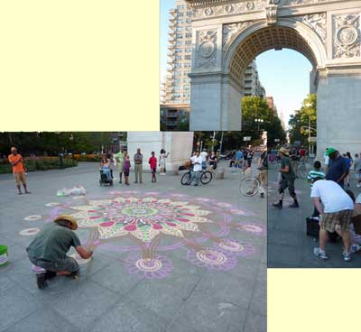 Sand painting in Washington Park