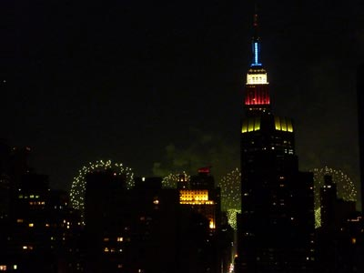 Empire State with fireworks