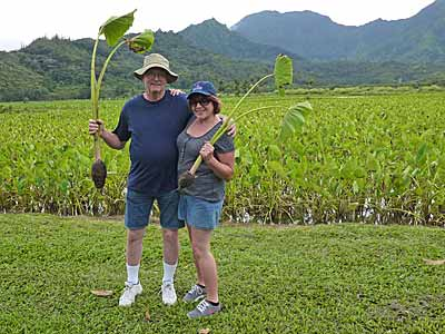 Craig & Patty with Taro plants