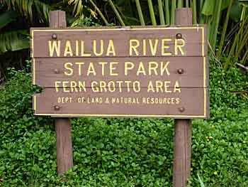 Wailua River State Park sign