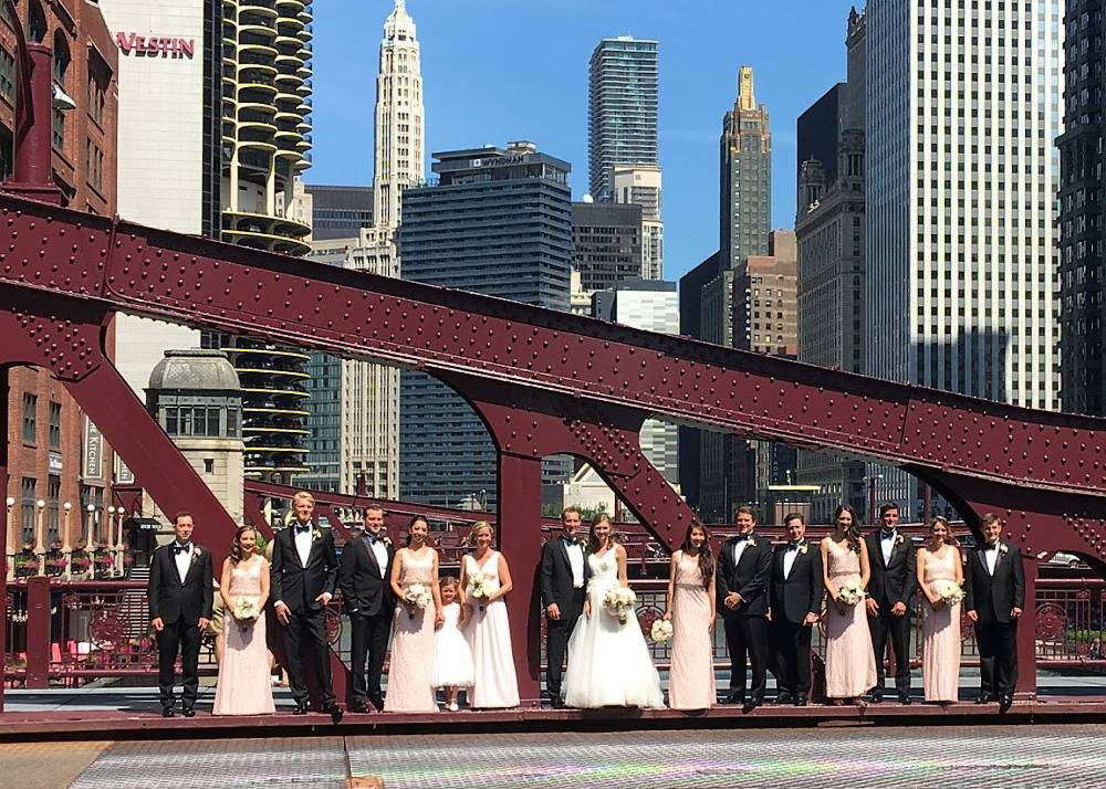 Wedding Party on a Chicago bridge