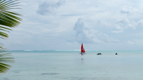 Catamaran and boaters