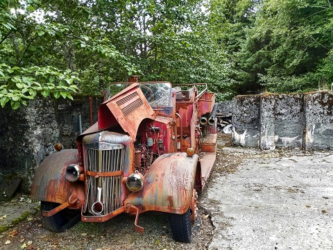 abandoned fire truck