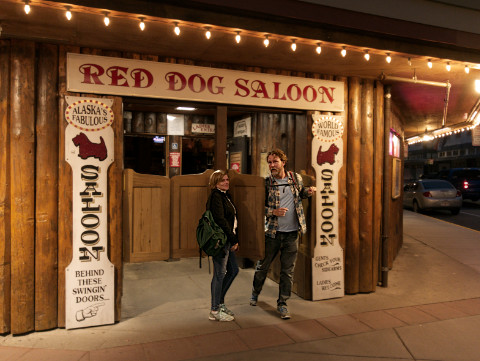 )atty & CJ comming out of the Red Dog Saloon