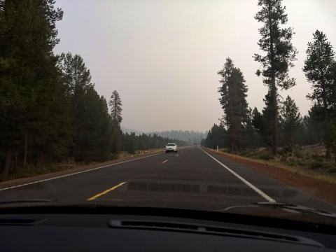 driving home through fire smoke in Oregon